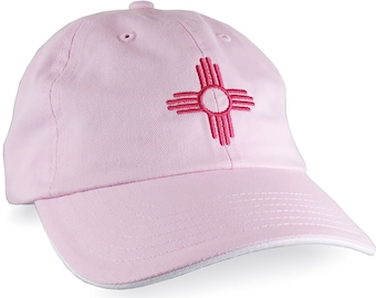New Mexico Zia Symbol Embroidery on an Adjustable Light Pink and White Unstructured Classic Dad Hat Cap with Personalization Options
