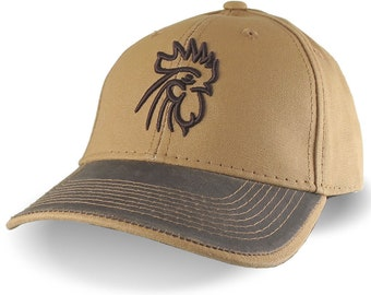 Brown 3D Puff Rooster Head Raised Embroidery on an Adjustable Structured Sienna and Brown Duck Canvas Baseball Cap with Options