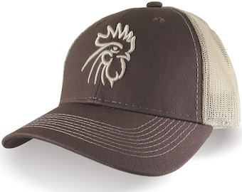 Rooster Head Beige 3D Puff Raised Embroidery on an Adjustable Brown Structured Trucker Style Mesh  Snapback Ball Cap