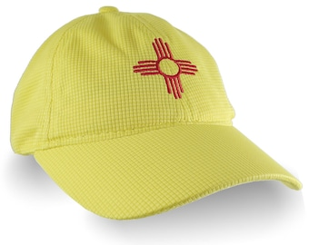 New Mexico Zia Symbol Embroidery on an Adjustable Yellow Unstructured Low Profile Sporty Polyester Cap