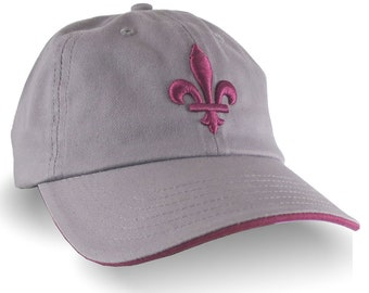 Quebec Style Fleur de Lis 3D Puff Ruby Red Raised Embroidery on an Adjustable Grey Unstructured Dad Hat Style Baseball Cap with Options