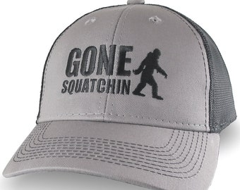 Gone Squatchin Humorous Sasquatch Bigfoot Silhouette Black Embroidery on an Adjustable Grey and Black Truckers Style Ball Cap