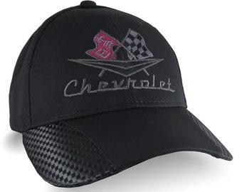 Vintage Chevrolet Embroidery on an Adjustable Structured Fashion Ball Cap in Black Faux Carbon Fiber Trimmed Cap Personalization Options