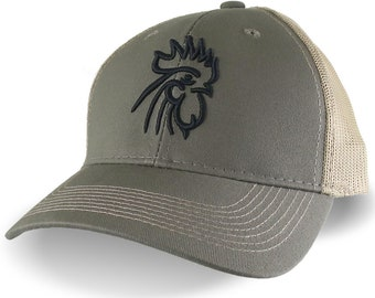 Rooster Head Black 3D Puff Raised Embroidery on an Adjustable Olive Green Structured Trucker Style Mesh  Snapback Ball Cap
