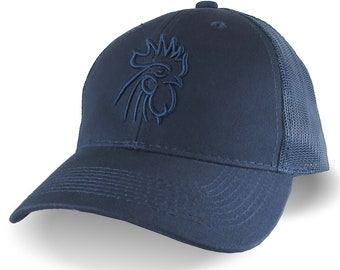 Rooster Head Navy Blue 3D Puff Raised Embroidery on an Adjustable Navy Blue Structured Trucker Style Mesh  Snapback Ball Cap