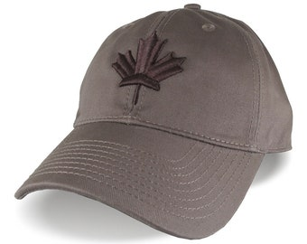 Canada Canadian Brown Maple Leaf 3D Puff Embroidery Adjustable Brown Unstructured Baseball Cap Options to Personalize Side and Back