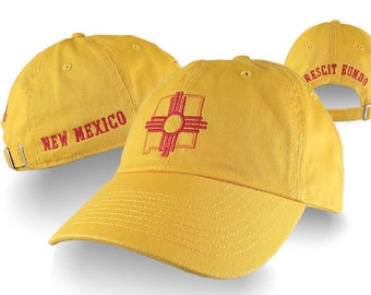 New Mexico Zia Symbol Multiple Embroidery on an Adjustable Sun Yellow Unstructured Classic Dad Hat Cap with Personalization Option