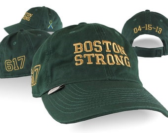 Boston Strong Remembrance 4 Locations Golden Embroidery on an Adjustable Green Unstructured Classic Organic Cotton Low Profile Baseball Cap