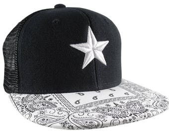 3D Puff Embroidery White and Silver Star on a White Bandana Retro Flat Bill Structured Adjustable Black Trucker Style Baseball Cap Snapback