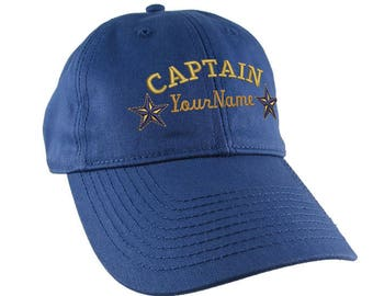 Personalized Captain Stars Your Name Embroidery on an Adjustable Indigo Blue Unstructured Baseball Cap with Option to Personalize the Back