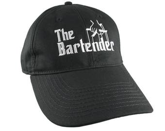 The Bartender Godfather Parody Style White Embroidery Design on an Adjustable Unstructured Black Baseball Cap