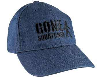 Gone Squatchin Humorous Sasquatch Bigfoot Silhouette Black Embroidery on an Adjustable Blue Denim Stylish Baseball Cap