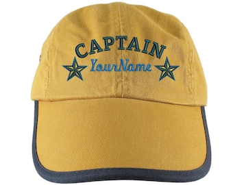 Personalized Nautical Captain Stars Embroidery on a Polo Style 5 Panel Adjustable Mango and Navy Unstructured Cap for the Boating Enthusiast