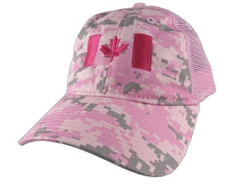 Canadian Flag Canada Hot Pink Embroidery on a Pink Digital Camouflage Unstructured Adjustable Classic Trucker Style Cap in Pink Back Mesh