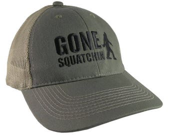 Gone Squatchin Humorous Sasquatch Bigfoot Silhouette Black Embroidery on an Adjustable Khaki Green Truckers Style Ball Cap