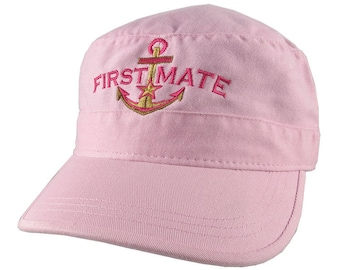 Nautical Star Golden Anchor First Mate Embroidery on an Adjustable Pink Unstructured Military Cadet Cap with Options to Personalize