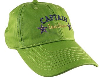 Personalized Captain Stars Your Name Embroidery on Adjustable Bud Green Unstructured Mid Profile Cap with Option to Personalize the Back