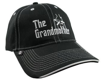 The Grandmother Godfather Style Parody White Embroidery on an Adjustable Fashion Structured Black Baseball Cap and Contrasting White Details