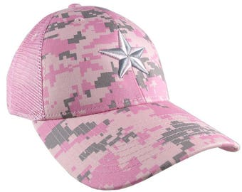 3D Puff Embroidery Silver and Pink Star on a Pink Digital Camouflage Structured Adjustable Classic Trucker Style Baseball Cap