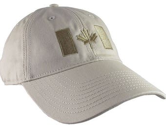 Canadian Flag Bronze Beige Embroidery Design on a Stone Beige Adjustable Unstructured Baseball Cap Dad Hat for a Tone on Tone Fashion Look