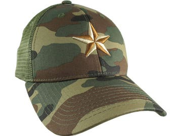 3D Puff Embroidery Golden Beige and Copper Star on a Woodland Khaki Camouflage Structured Adjustable Classic Trucker Style Baseball Cap