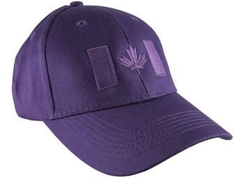 Canadian Flag Purple Embroidery Design on a Purple Adjustable Structured Baseball Cap for Kids Age 6 to 14 Tone on Tone Fashion Look