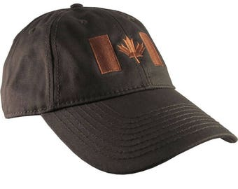 Canadian Flag Copper Embroidery Design on a Dark Brown Adjustable Unstructured Baseball Cap Dad Hat for a Tone on Tone Fashion Look