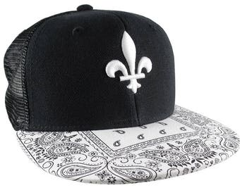 3D Puff Embroidery White Fleur-de-Lis on a White Bandana Retro Flat Bill Structured Adjustable Black Trucker Style Baseball Cap Snapback
