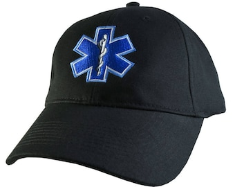 Star of Life American Flag Offset EMS Paramedic Flexfit Ball Cap Firefighter