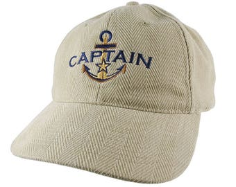 Nautical Golden Star Anchor Boat Captain Embroidery on an Adjustable Beige Structured Retro Baseball Cap Options to Personalize the Hat
