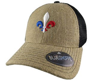 Fleur de Lis 3D Puff France Flag Embroidery Fleur de Lys Adjustable Natural Burlap Jute and Black Mesh Structured Trucker Style Baseball Cap