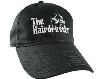 The Hairdresser Godfather Parody Style White Embroidery Design on an Adjustable Unstructured Black Baseball Cap