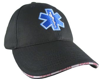 Paramedic EMT EMS Star of Life Embroidery on Adjustable Black Structured Premium Canada Baseball Cap Options to Personalize Two Locations