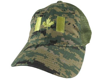 Canadian Flag Canada Embroidery on a Woodland Digital Camouflage Unstructured Adjustable Classic Trucker Style Cap in Khaki green Back Mesh