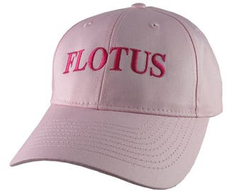 FLOTUS Typography First Lady of the United States Melania Trump Style Hot Pink Embroidery on an Adjustable Structured Pink Baseball Cap