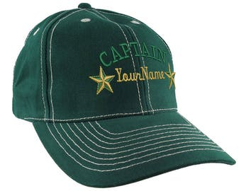 Personalized Captain Stars Your Name Embroidery on an Adjustable Green Structured Pro Style Baseball Cap with Option to Personalize the Back