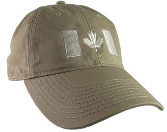 Canadian Flag Beige Embroidery Design on a Khaki Beige Adjustable Unstructured Baseball Cap Dad Hat for a Tone on Tone Fashion Look