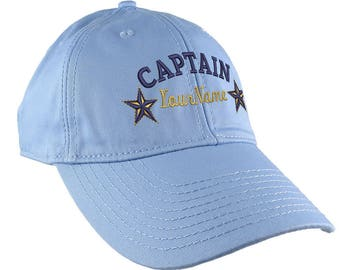 Personalized Captain Stars Your Name Embroidery on Adjustable Baby Blue Unstructured Mid Profile Cap with Option to Personalize the Back