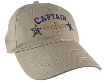 Personalized Captain Stars Your Name Embroidery on Adjustable Khaki Beige Unstructured Mid Profile Cap with Option to Personalize the Back