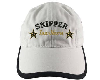 Personalized Nautical Skipper Stars Embroidery on Polo Style 5 Panel Adjustable Ivory and Black Unstructured Cap for the Boating Enthusiast
