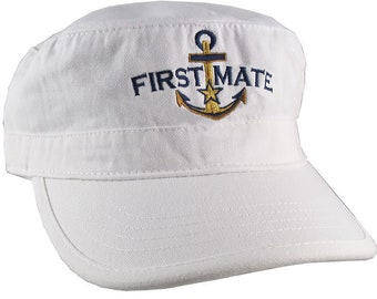 Nautical Star Golden Anchor First Mate Embroidery on an Adjustable White Unstructured Military Cadet Cap with Option to Personalize Back