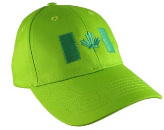 Canadian Flag Green Embroidery Design on a Lime Green Adjustable Structured Baseball Cap for Kids Age 6 to 14 Tone on Tone Fashion Look