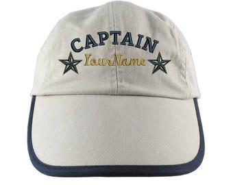 Personalized Nautical Captain Stars Embroidery on a Polo Style 5 Panel Adjustable Beige and Navy Unstructured Cap for the Boating Enthusiast