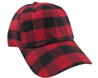 Personalized Red Buffalo Check Plaid Pattern Soft Structured Fashion Baseball Cap Dad Hat Style Options to Personalize Front and/or Back