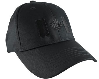 Canadian Flag Black Embroidery Design on a Black Adjustable Structured Baseball Cap for Kids Age 6 to 14 Tone on Tone Fashion Look