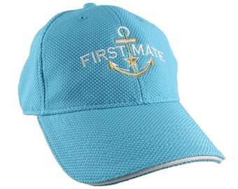 Nautical Star Golden Anchor First Mate White Embroidery on an Adjustable Aqua Blue Turquoise Structured Fashion Baseball Cap For Her For Mom