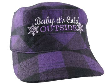 Baby It's Cold Outside Snowflakes Embroidery on a Purple and Black Buffalo Check Plaid Soft Structured Adjustable Fashion Cadet Military Cap