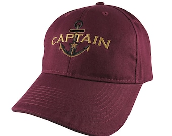 Personalized Captain Star Anchor Embroidery Adjustable Burgundy Red Soft Structured Fashion Baseball Cap + Options to Personalize Side Back