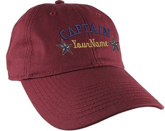 Personalized Captain Stars Your Name Embroidery on Adjustable Burgundy Red Unstructured Mid Profile Cap with Option to Personalize the Back