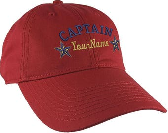 Personalized Captain Stars Your Name Embroidery Adjustable Cranberry Red Unstructured Mid Profile Cap with Option to Personalize the Back